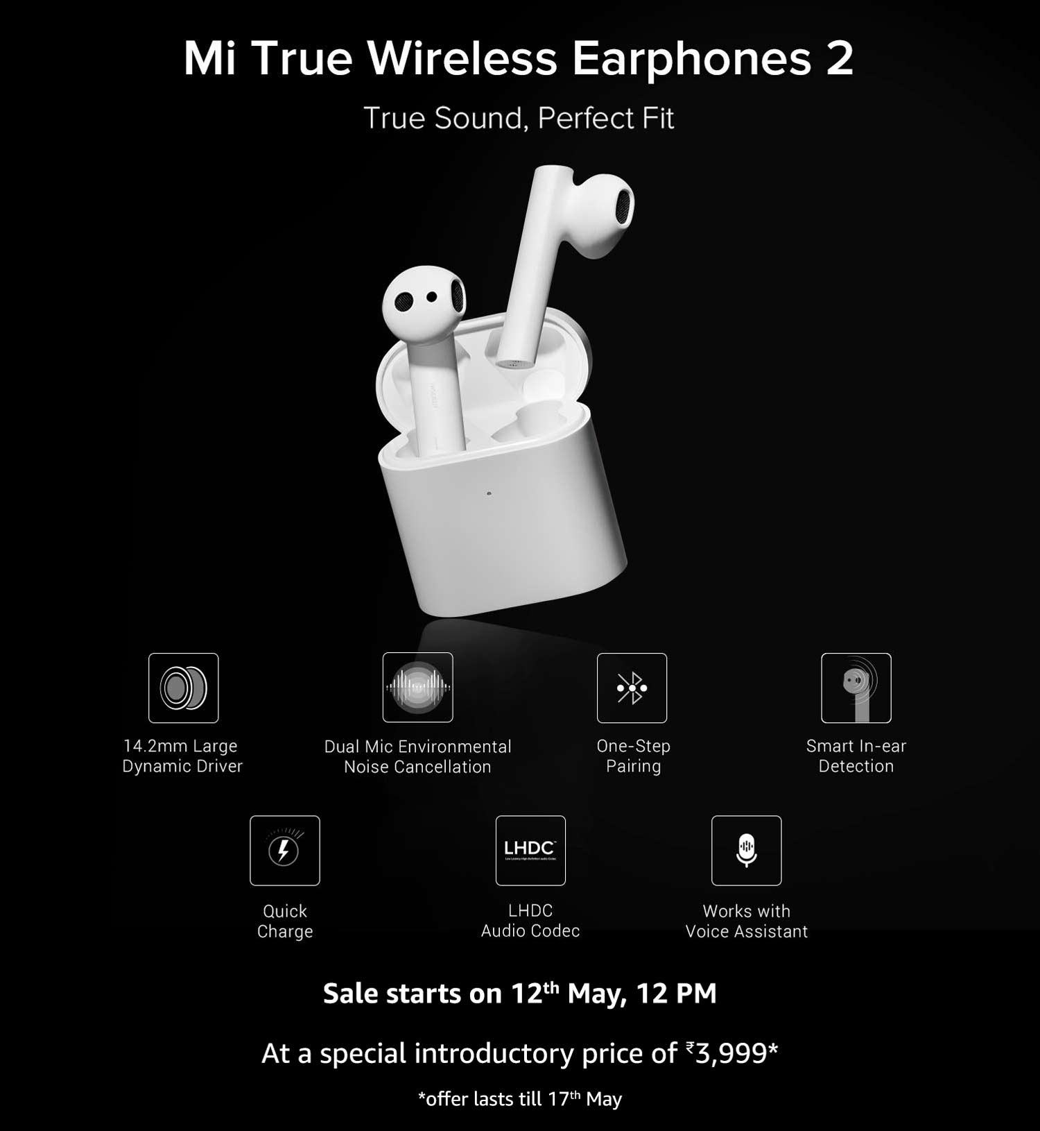 Mi True Wireless Earphones 2 Sale on May 12th on Amazon India