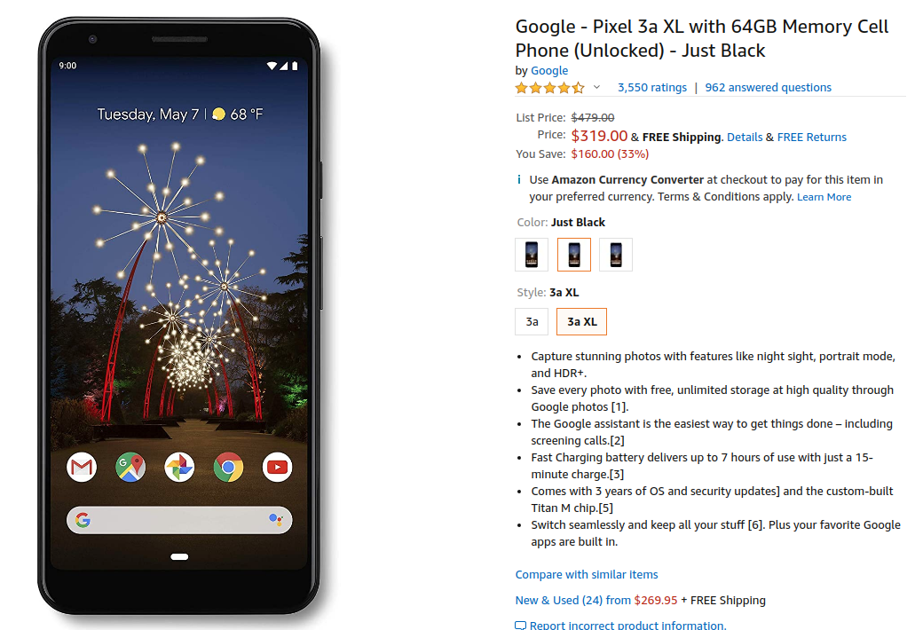 Google Pixel 3A XL Price Drop Offer on Amazon US
