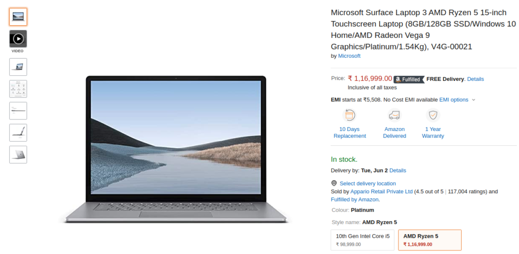 Microsoft Surface Laptop 3 in Stock on Amazon India