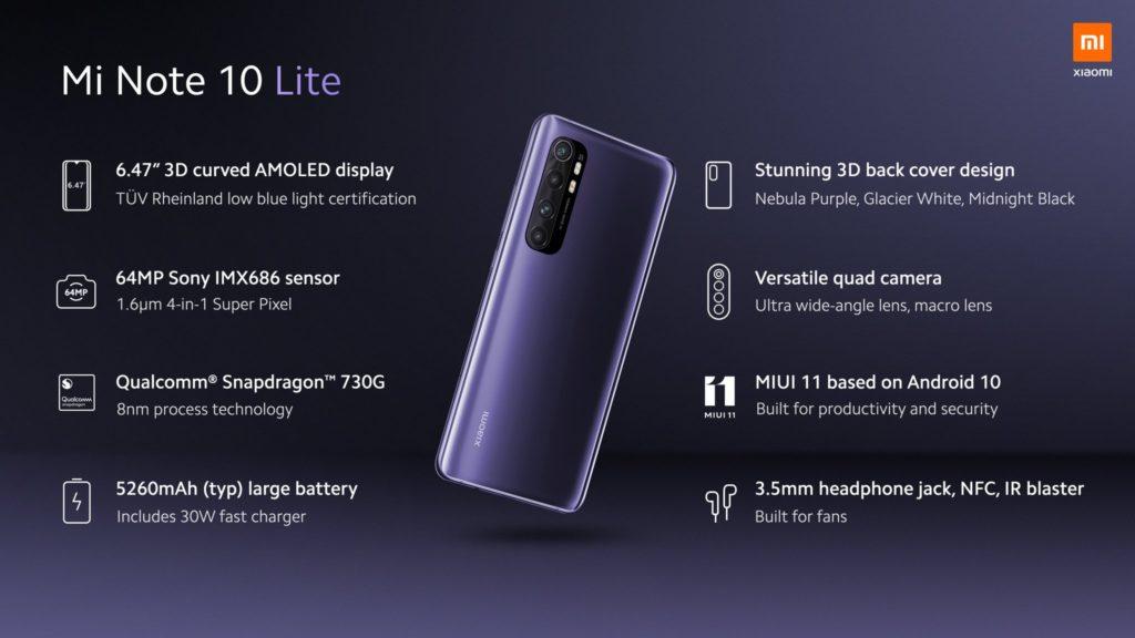 Xiaomi Mi Note 10 Lite Specs