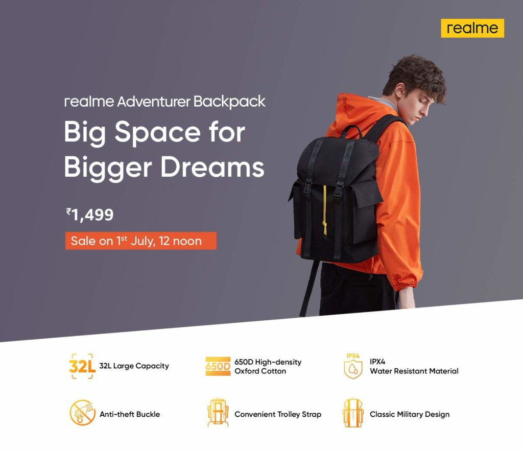 Realme backpack features