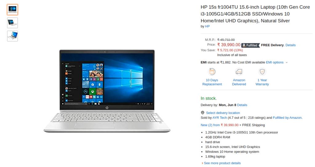 HP 15s fr1004TU Laptop Price in India