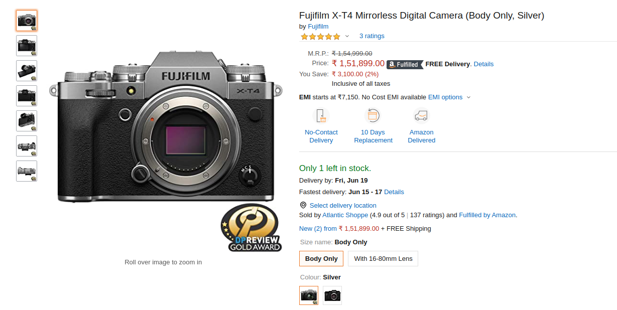 Fujifilm X-T4 in stock on Amazon India | Price Specs