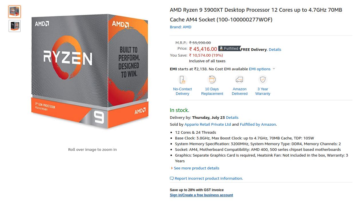 Amd Ryzen 9 3900xt Desktop Processor Price In India Tech Stories India