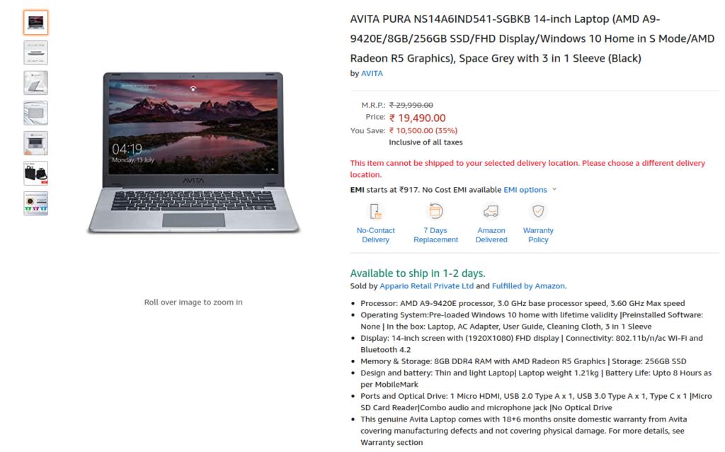 AVITA PURA NS14A6IND541-SGBKB Price in India