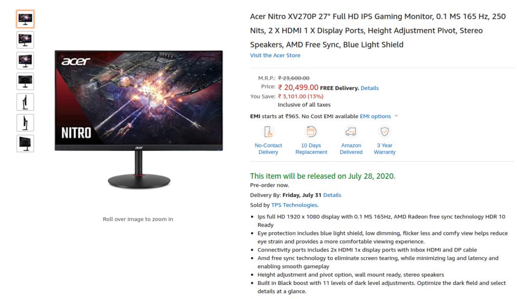 Acer Nitro XV270P Monitor Price in INdia