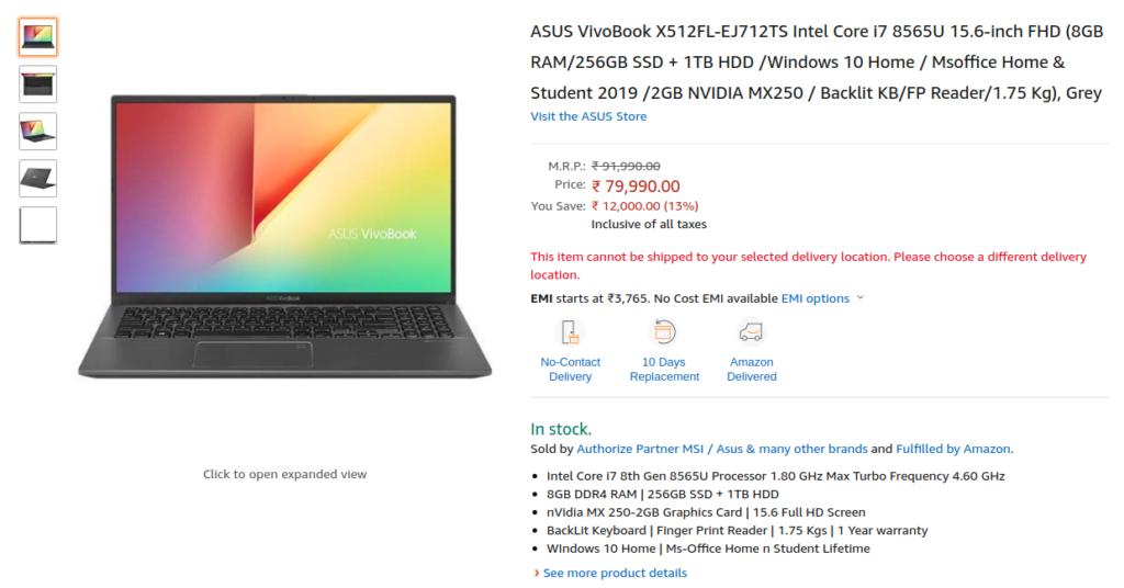 Asus VivoBook X512FL-EJ712TS Price India