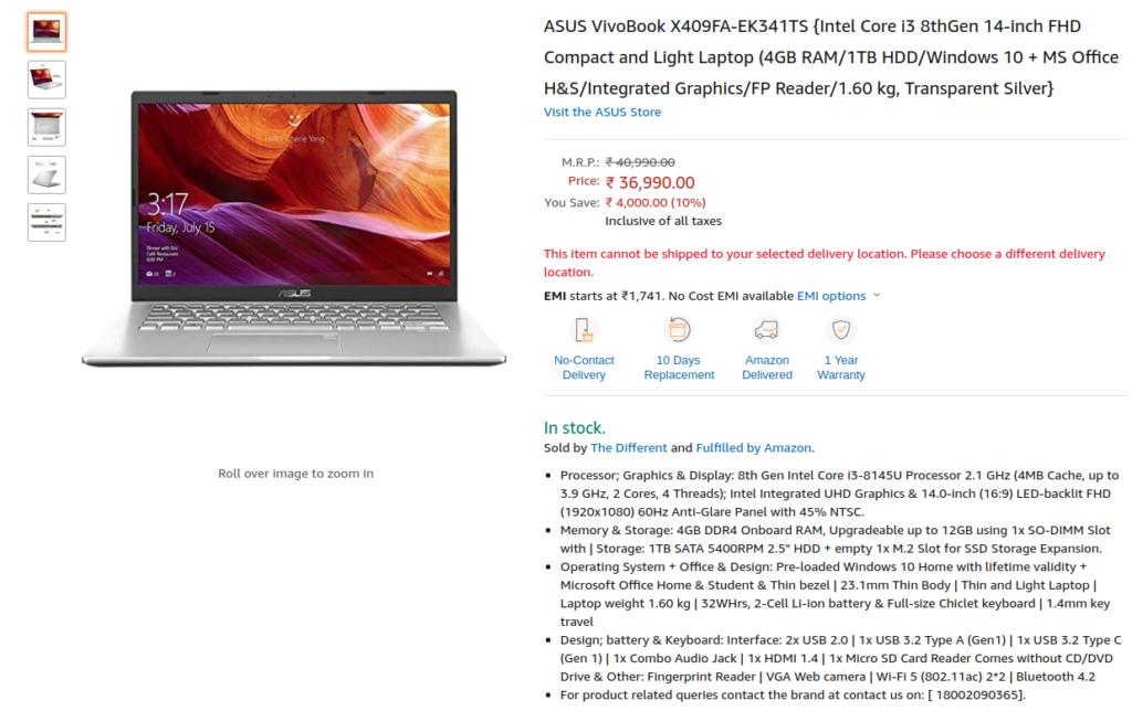 Asus Vivobook X409FA-EK341TS Price in India