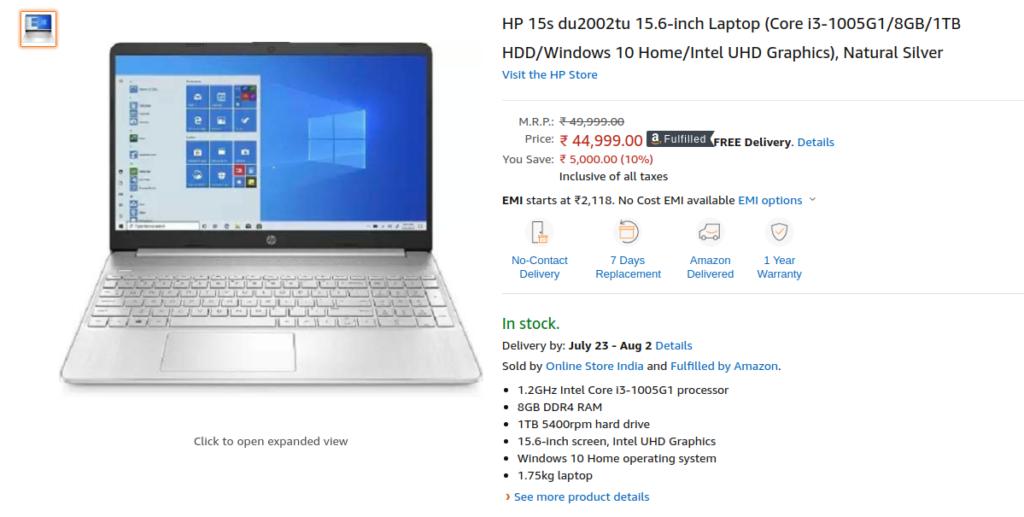 HP 15s du2002tu Laptop Price India