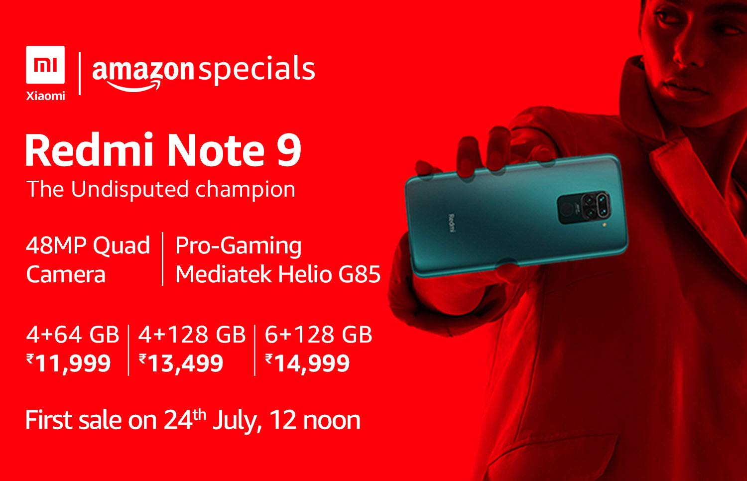 Redmi Note 9 First Sale on July 24th on Amazon India.