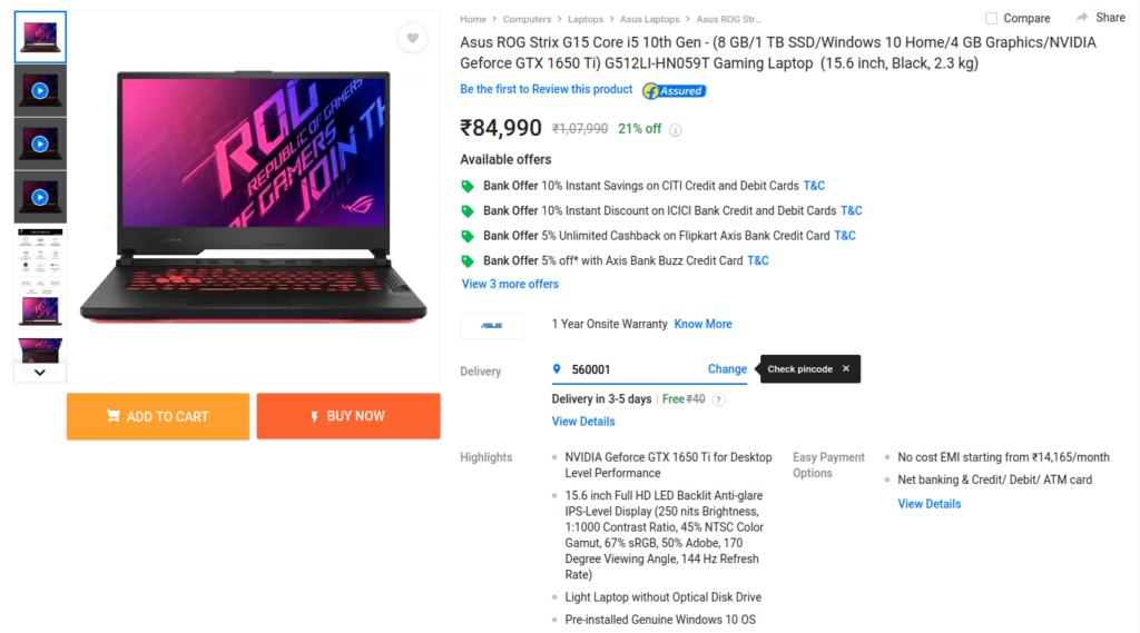Asus ROG Strix G15 G512LI-HN059T laptop price in India