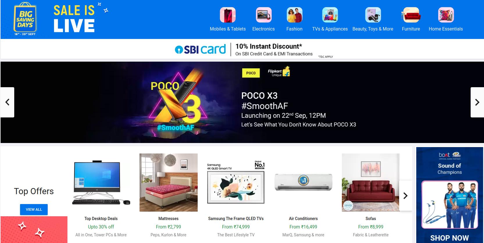 Flipkart Big Saving Days Sale Offers   Sep 18-20 Deals  ( 2020 )