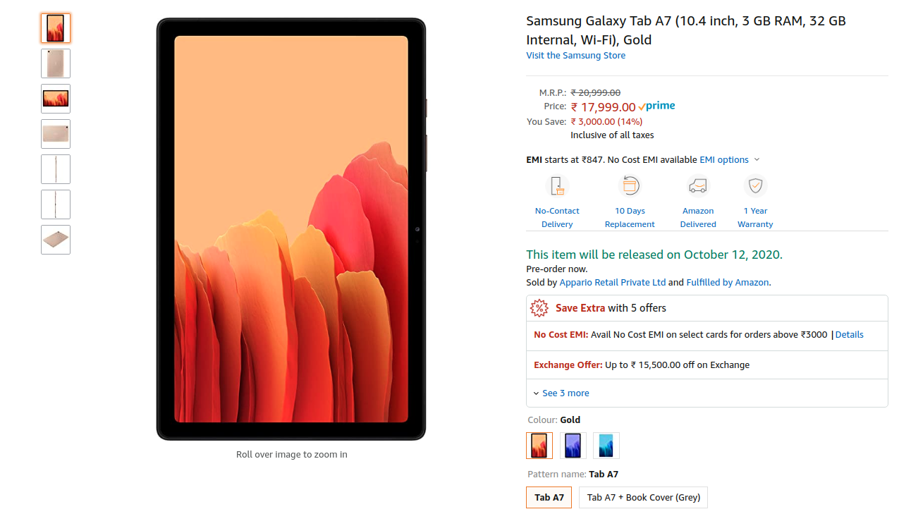 Samsung Galaxy Tab A7 2020 up for pre-order on Amazon India