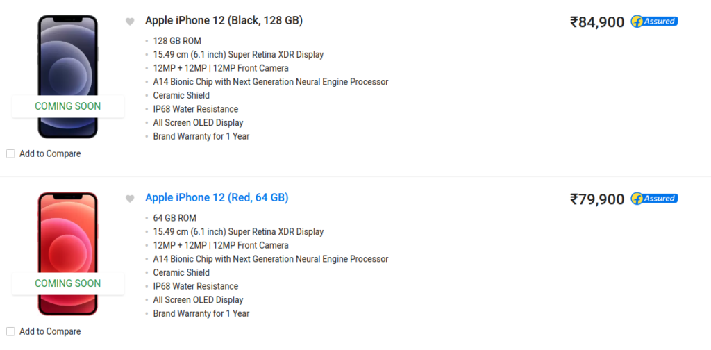 Apple iPhone 12 Flipkart Price