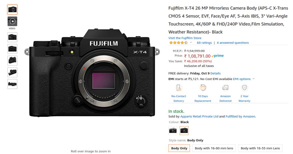 Fujifilm X T4 Offer India
