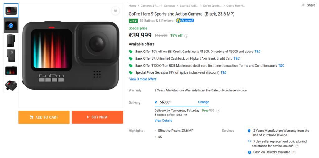 GoPro Hero 9 Offer Flipkart Amazon India