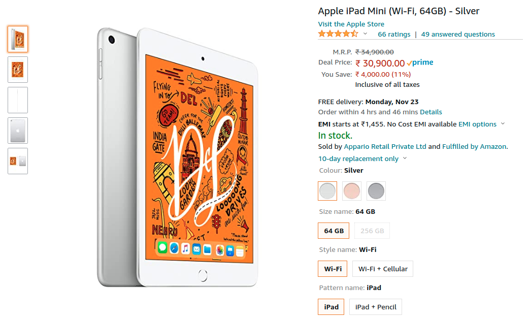 Apple iPad Mini WiFi 64GB Offer on Amazon India | Nov 2020 Price