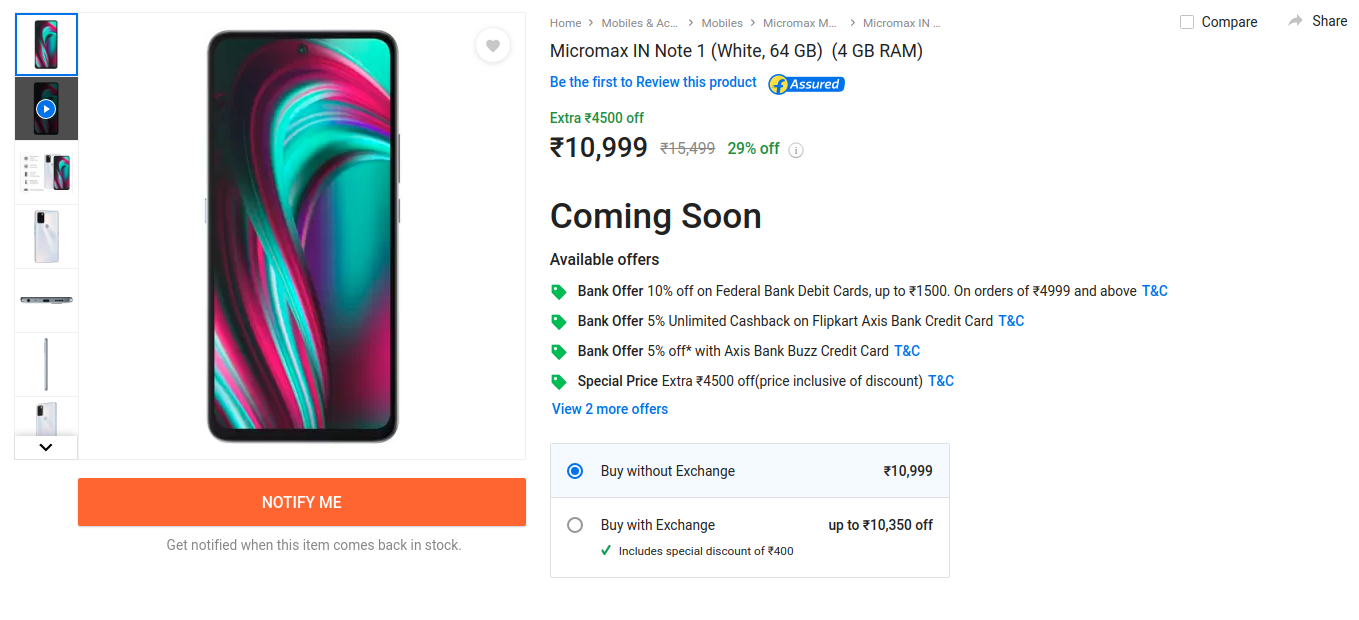 Micromax IN Note 1 First Sale on Nov 24th on Flipkart