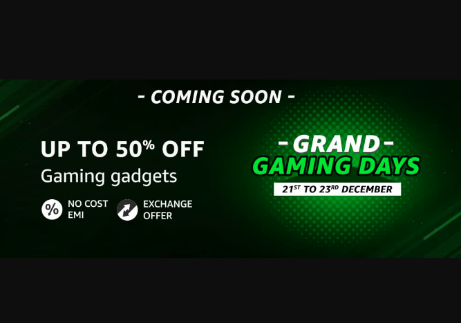 Grand Gaming Days Sale on Amazon India [ Dec 21-23 2020 ]