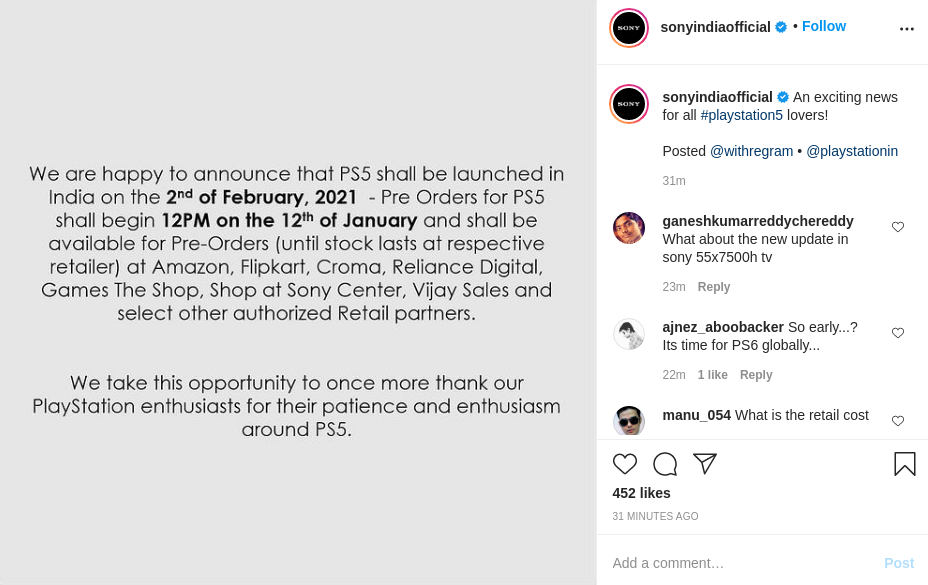 Sony PS5 India Official Launch Pre order