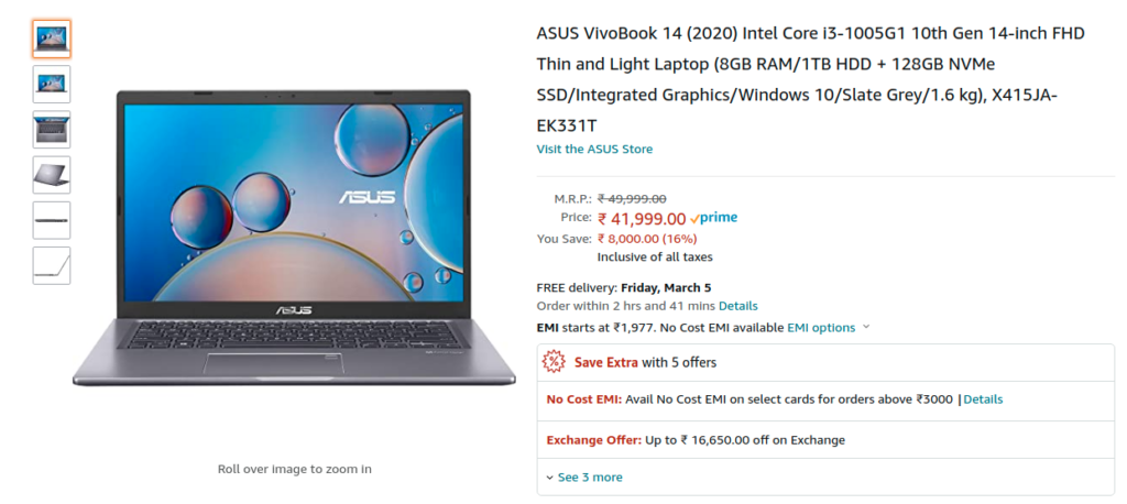 ASUS VivoBook 14 2020 X415JA EK331T India Price