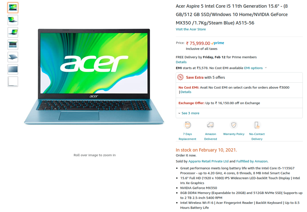 Acer Aspire 5 A515 56 India Specs