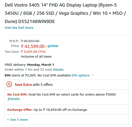 Dell Vostro 3405 D552148WIN9DE Amazon India Price