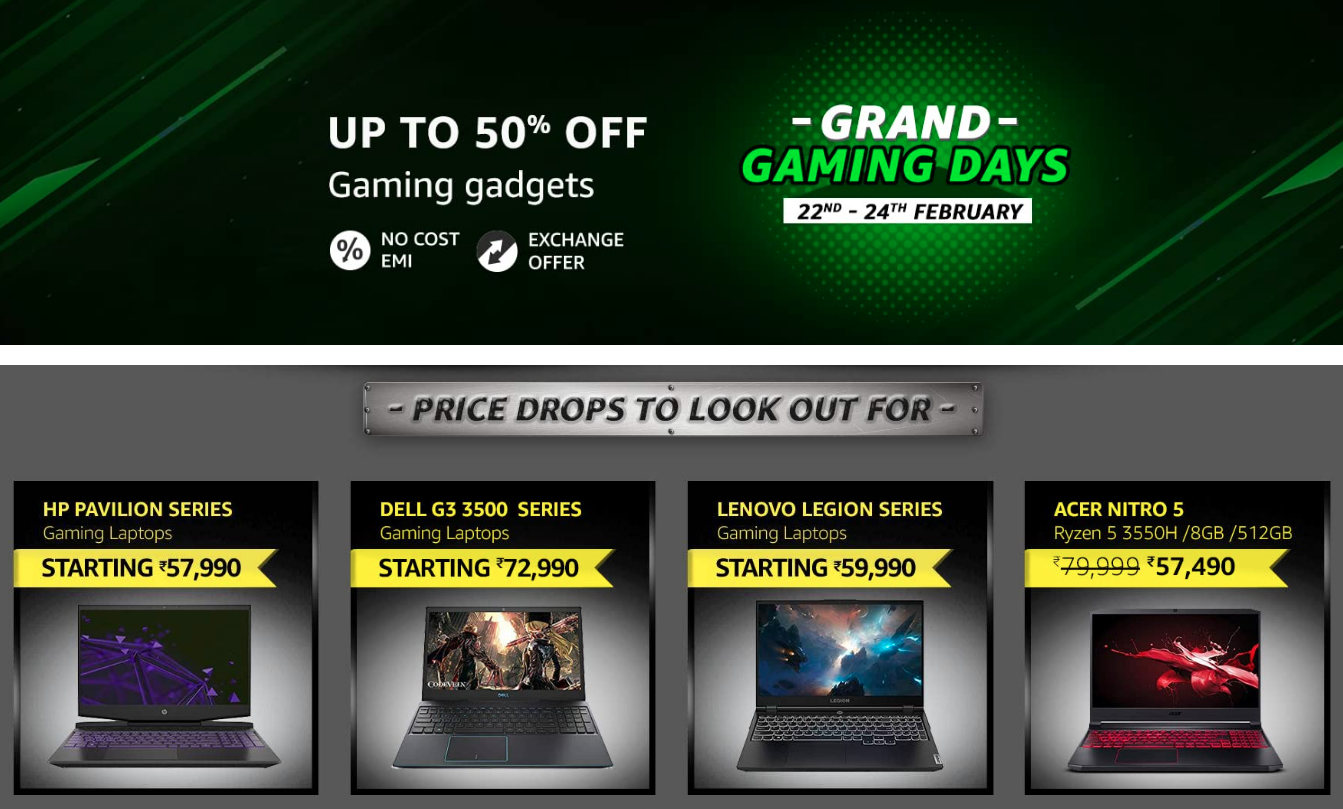 Grand Gaming Days Sale Top Deals [ Feb 22-24, 2021]