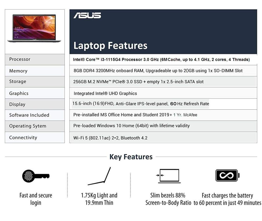 ASUS VivoBook 15 X515EA EJ312TS Key Features