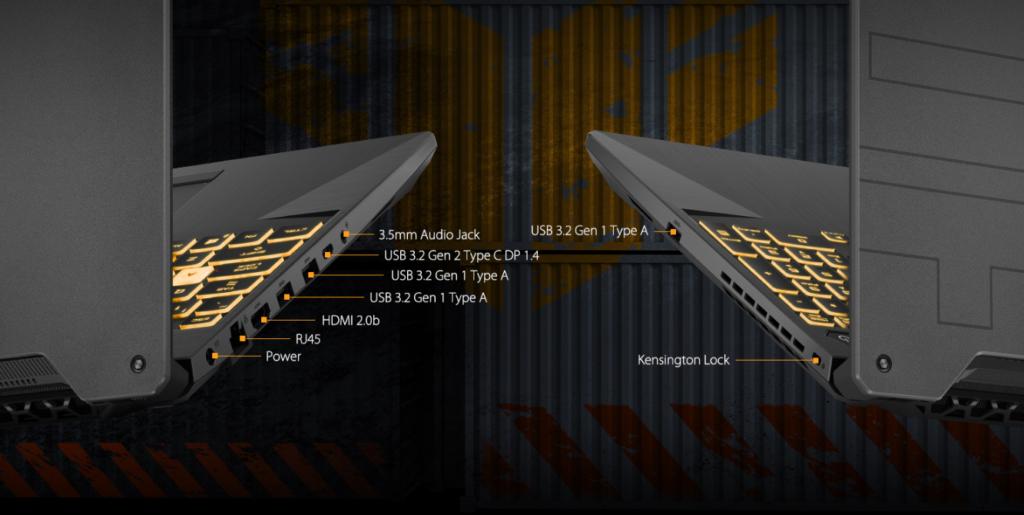 ASUS TUF Gaming A15 2021 FA506QM HN008TS POrts