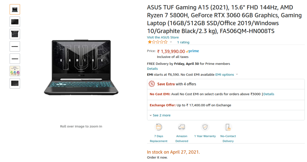Asus FA506QM HN008TS Price Amazon India