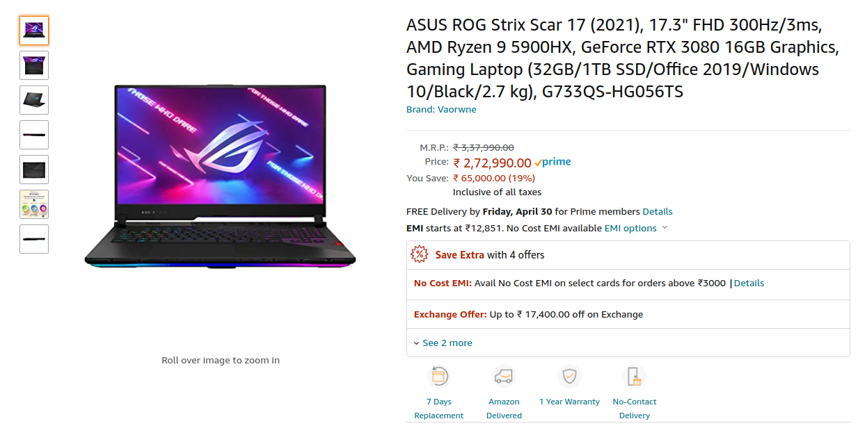 Asus ROG Strix Scar 17 (2021) G733QS-HG056TS Price in India ( Ryzen 9 5900HX / RTX 3080 )