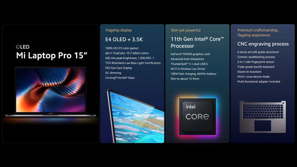Xiaomi Mi Laptop Pro 15 specs