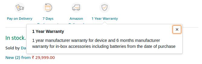 1 year warranty amazon in