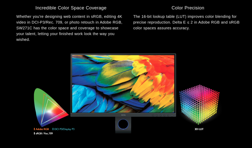 BenQ SW271C 4K PhotoVue Monitor colors