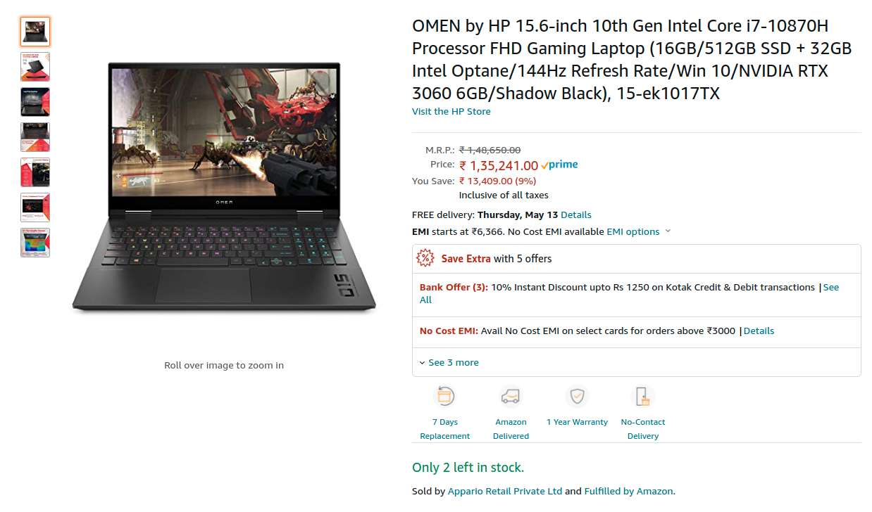 HP OMEN Laptop 15-ek1017TX Price in India ( i7-10870H / RTX 3060 / 16GB / 512GB SSD )