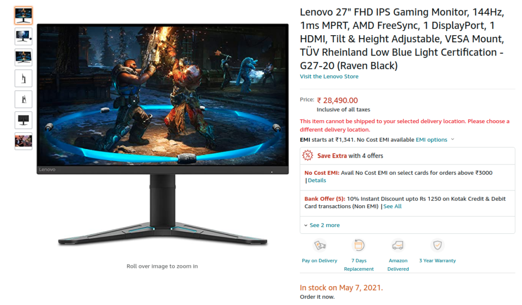 Lenovo G27 20 gaming monitor price india