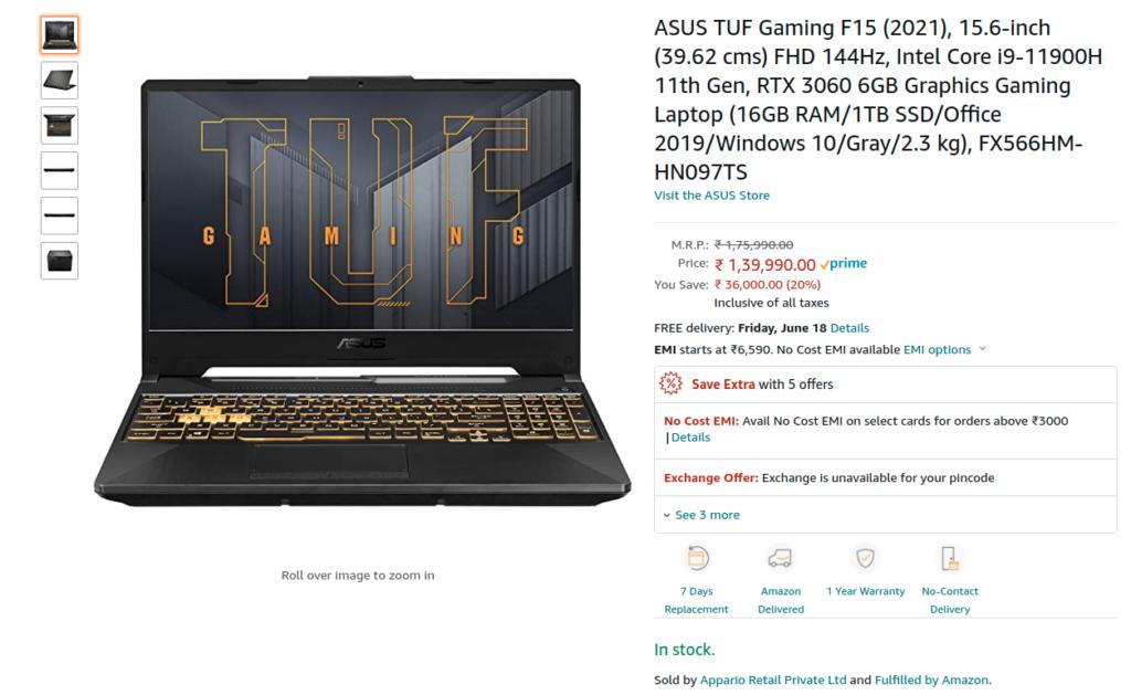 ASUS FX566HM HN097TS Amazon India