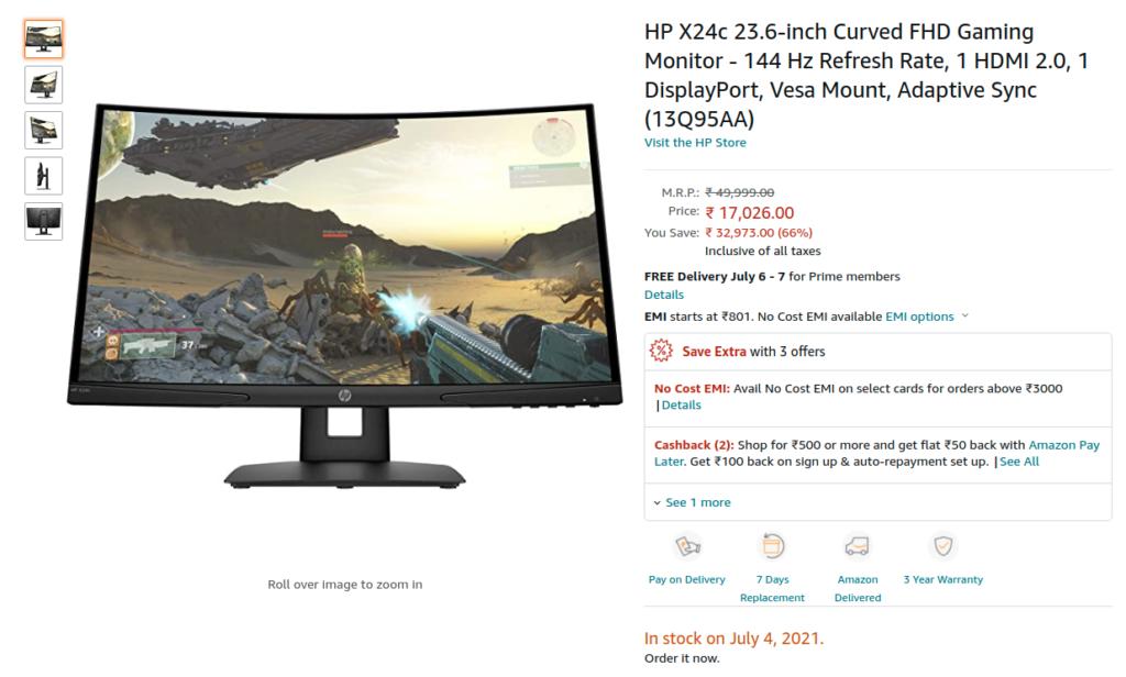 HP X24c 13Q95AA Monitor Amazon India