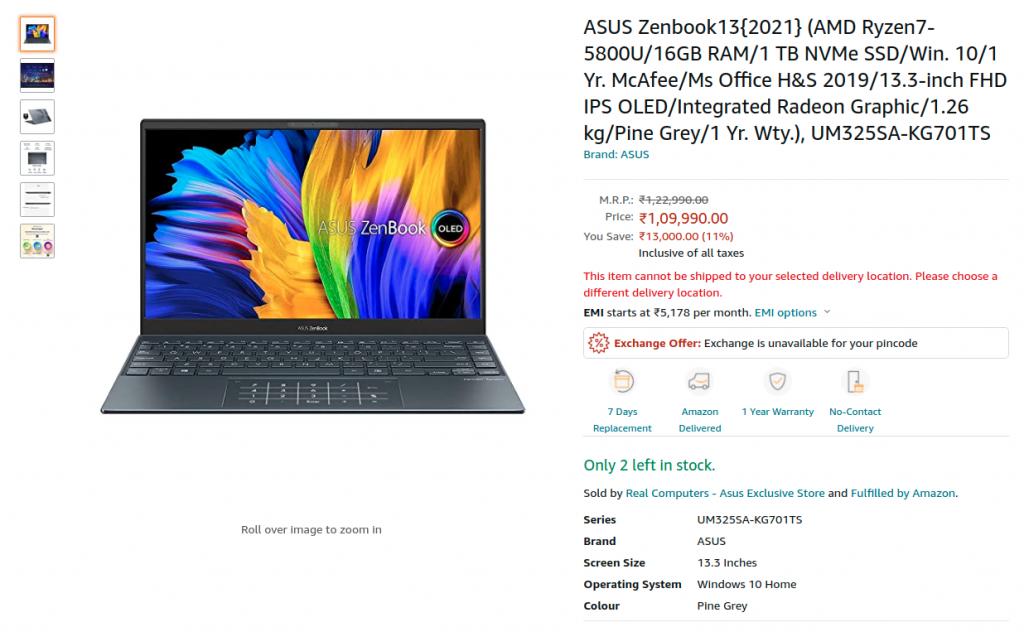 ASUS Zenbook 13 UM325SA KG701TS Amazon india