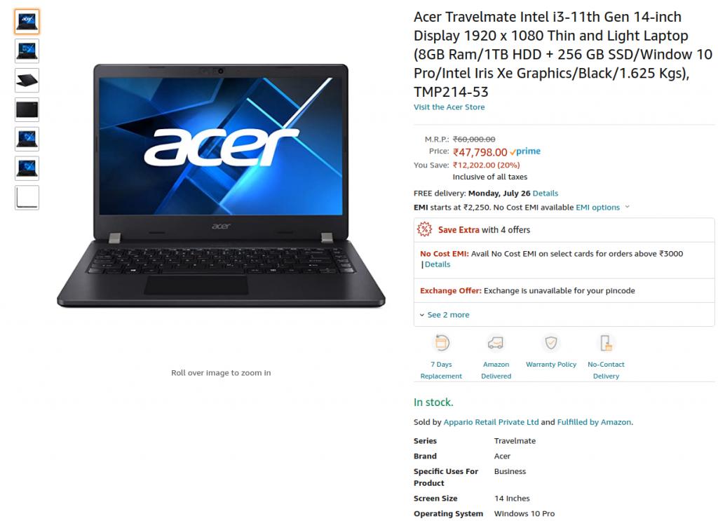 Acer TMP214 53 AMazon US price