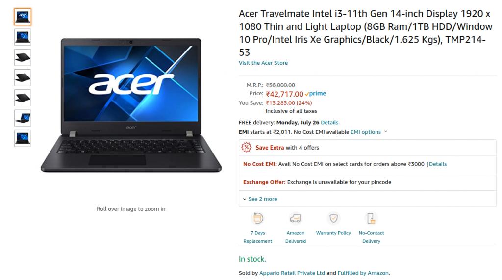 Acer TMP214 53 Amazon Price