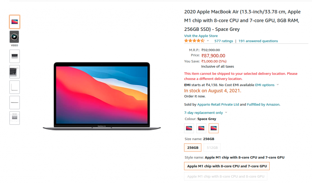 Apple Macbook Air 2020 with M1 chip Price Drop Offer on Amazon India