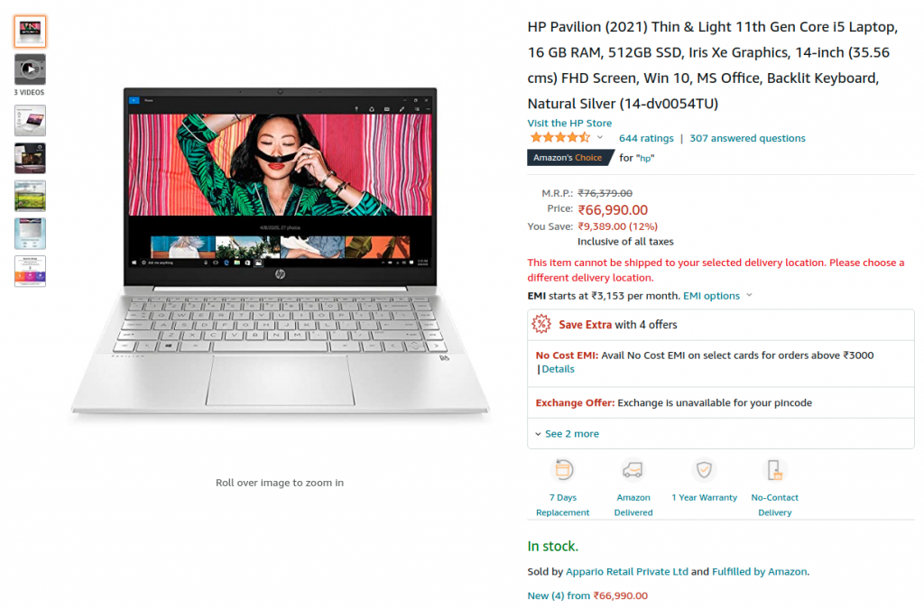 HP Pavilion 14-dv0054TU Lowest Price - the Best Selling 16GB ram Laptop on Amazon India