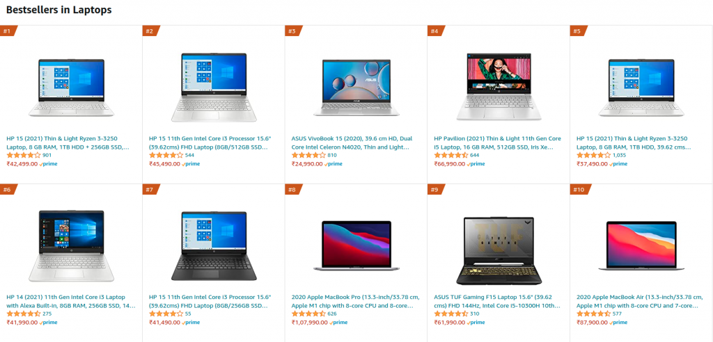 August 2021 Top 10 Best Selling Laptops on Amazon India