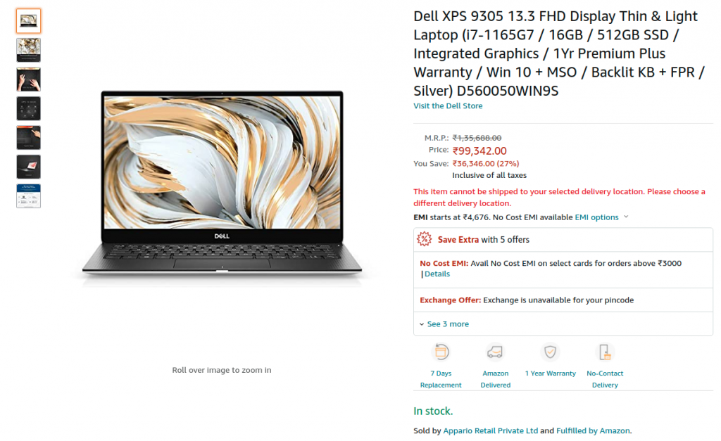 Deal Dell XPS 9305 D560050WIN9S Amazon India