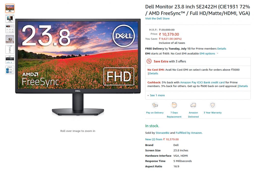 Dell Monitor 23.8 inch SE2422H
