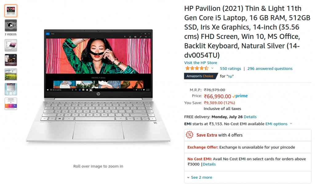 HP Pavilion 2021 14-dv0054TU Amazon india Price