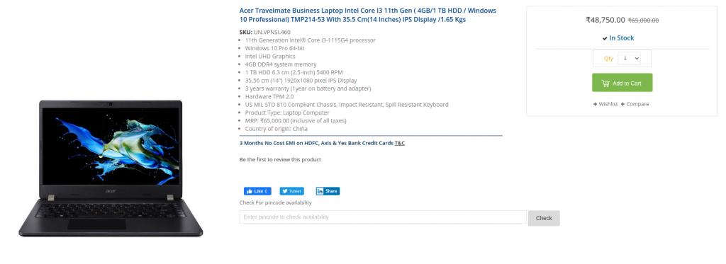 TMP214 53 acer india price