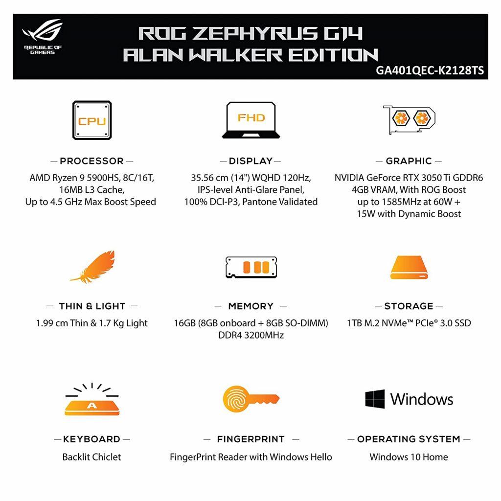 ASUS ROG Zephyrus G14 Alan Walker Edition specs